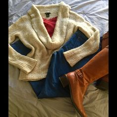 """🎉HP 9/11/16🎉So SOFT Deep Cowl Sweater 😍I AM SO SOFT❣(You'll feel like a Bunnie)! 🐇This Trendy Sweater has a deep Cowl for a graceful drape. The Neutral Oatmeal color can be worn layered over any color Tank or Tee along with leggings or jeans. Add your boots for a Fab look! ❣Worn only twice; in Perfect like New condition! 50/50 Nylon/Acrylic blend. Measures 22"""" flat across bust; 24"""" Length shoulder to hem. (Red Cami available in closet)🎉Host Pick🎉Best in Outerwear party🎉9/11 courtesy…"""