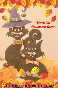 Adorable Wooden Black Cats for your Halloween Home Decor