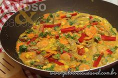Receita de Tiras de Carne ao Leite de Coco com Legumes