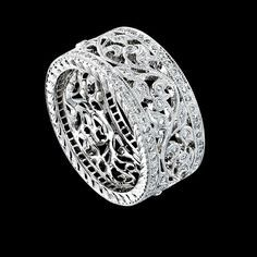 8WR602-D-D - Ring 18ct White Gold , Floral Band with Diamond set Flat Sides , Di.56ct 8.6MM Wide...  possible future wedding band...please Alex!