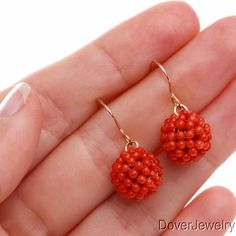 14k Gold Red Coral Bead Ball Cluster Drop Earrings | eBay