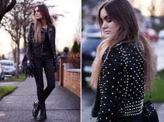 Hug Me In This Jacket (by Anouska Proetta Brandon) - Storets.Com Studded Jacket, Topshop Jeans, Dr.Martens Shoes