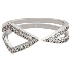 Eternally Haute Rhodium plated Cubic Zirconia Pave Mid-point Ring (Size ) Women's