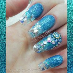 ": ""After begging forever, I finally got my Jeffree Star inspired nails😍"" Coffin Nails Long, Long Nails, Blue Nails, Glitter Nails, Long Nail Art, Nail Candy, Beautiful Nail Art, Jeffree Star, Nails Inspiration"