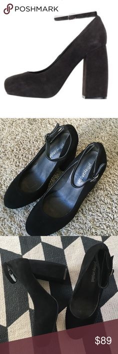 Jeffery Campbell pumps Black suede, size 7, ankle detail, built in 1 inch platform in front about a 4 inch heel, not worn, no trades Jeffrey Campbell Shoes Platforms