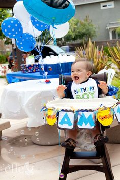 Cookie Monster First Birthday, love the decorated high chair! Monster First Birthday, Happy Birthday Boy, 1st Birthday Themes, Baby 1st Birthday, Birthday Bash, First Birthday Parties, First Birthdays, Birthday Ideas, Cookie Monster Party