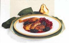 This sounds like what I remember from Bit O' Denmark in Solvang.  Roast Duck with Prunes and Wine-Braised Cabbage Recipe   Epicurious.com