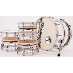 For our boy Cody Lee - Weathered white / walnut & clear acrylic hybrid kit w/ wood hoops all around