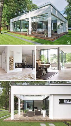 Modern Bungalow House Design, Modern Villa Design, Bungalow House Plans, Home Building Design, Building A House, House Outer Design, Living Haus, House Construction Plan, Casas The Sims 4