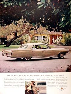1964 Cadillac Fleetwood Sedan vintage ad. Try looking at your world through a Cadillac windshield.