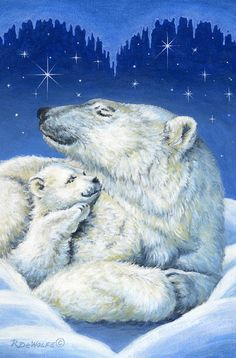 Starry Night Bears Painting by Richard De Wolfe - Starry Night Bears Fine Art Prints and Posters for Sale