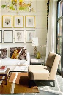 Great idea for a bright accent with the frames Living Room Art, Living Spaces, Interior Inspiration, Interior Ideas, Photo Displays, Floor Chair, Recliner, Interior Decorating, Gallery Wall