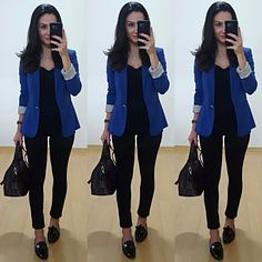 PhotoGrid_1462792493295 Blue Blazer Outfit, Blazer Outfits Casual, Blazer Outfits For Women, Look Blazer, Business Casual Outfits, Professional Outfits, Office Outfits, Work Fashion, Fashion Outfits