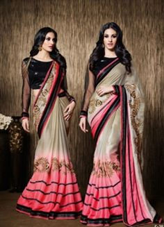 Make your style statement with our exclusive range of stylish and Multi Silk Georgette #PartyWearSaree with Embroidery eclectic: