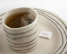 One Porcelain Cup- Short and Striped. My cup of tea