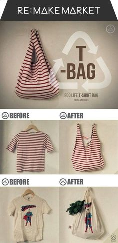 tee-bag : make a bag from a recycled t-shirt (love the stripes!) - you could do this with your t-shirts