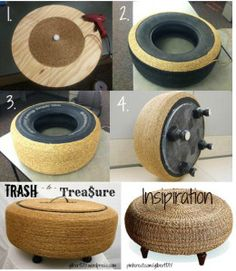 Trash to Trea ure Tire Ottoman Ottomon Instruction Pin Diy Para A Casa, Diy Casa, Diy Furniture Table, Diy Outdoor Furniture, Ottoman Furniture, Furniture Projects, Wood Projects, Woodworking Projects, Diy Home Crafts