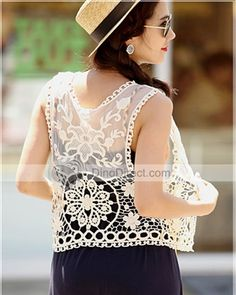 Nice Lace Hollowed Flower Pattern Women Vests
