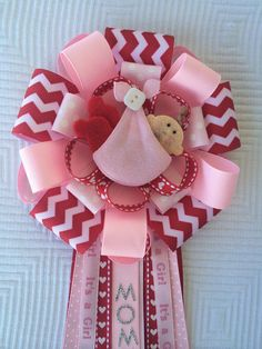 Valenties Day Baby Shower Corsage Red and Pink Baby Shower Corsage Love Baby Shower Its A Girl Baby Shower Corsage Red Chevron Corsage