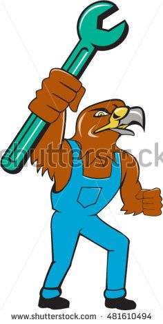 Illustration of a hawk mechanic standing raising up pipe spanner set on isolated white background done in cartoon style. #mechanic #cartoon #illustration