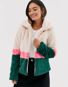 Glamorous faux fur jacket with contrast stripe