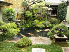 Patio interior – Home Decor Style Japanese Garden Backyard, Japanese Garden Landscape, Small Japanese Garden, Japan Garden, Japanese Garden Design, Zen Garden Design, Pond Design, Pond Landscaping, Ponds Backyard
