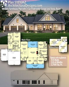 Plan Modern Farmhouse Plan with Front-entry Garage and Bonus Room Few tweaks – Architectural Designs Country Farmhouse Home Plan bedrooms, baths and sq. 4 Bedroom House Plans, Family House Plans, Ranch House Plans, Craftsman House Plans, New House Plans, Dream House Plans, Dream Houses, Barn Houses, Ranch Floor Plans