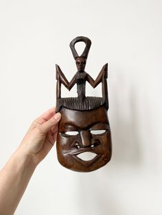 Vintage African Carving, Wooden Hand Craved Hanging, African Mask, African Wall Decor, Triabal Art, Wooden Wall Plaque