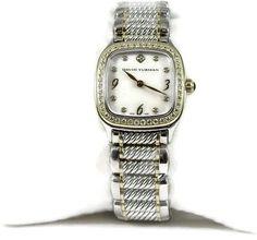 david yurman stainless steel and 18k yellow gold quartz 54tcw diamond 25mm womens watch