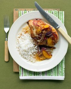 Ginger Chicken with Peaches and Onion Recipe