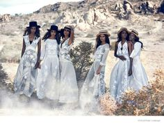 Taking to a picturesque rocky mountains setting, the March 2015 issue of Vogue US enlists a cast of all black models for a fashion editorial captured by the legendary Peter Lindbergh (2b Management). Styled by fashion editor Grace Coddington, Leila Nda, Aya Jones, Imaan Hammam, Malaika Firth, Tami Williams and Kai Newman wear ethereal looks in white. Paired with straw hats, the looks have an almost western ...
