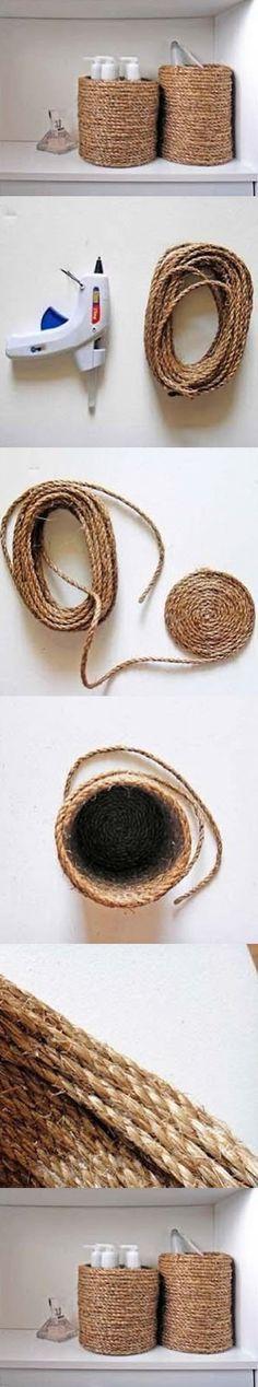 Cestinha artesanal feita com cordão passo a passo