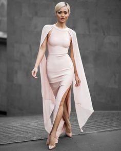 Sleeveless slit long maxi bandage floor length dress with chiffon bat long sleeves. Details - 90% Rayon, 9%Nylon, 1% Spandex - Knitted - Imported - Dry Clean only - Fits One Size Small