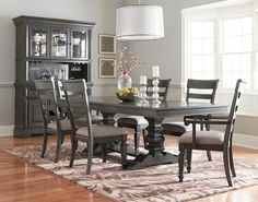 Standard Furniture Garrison Dining Room Trestle Table Dining Set with Seven Chairs - Household Furniture - Dining 7 (or more) Piece Set Dining Room Sets, Dining Table In Kitchen, Round Dining, Family Room Furniture, Dining Room Furniture, Trestle Dining Tables, Home, China Cabinet, Buffet