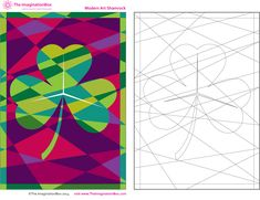 Modern Art Shamrock, free pdf download coloring activity sheet, available from The ImaginationBox