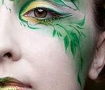 Forest makeup with leafy greens - perhaps something an elf might wear on a special occasion.
