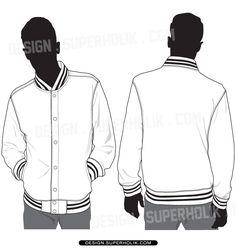 Men's Varsity Jacket / American Baseball Jacket Fashion Flat ...