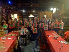 Funky Christmas tree at Painting with Ashley Ray