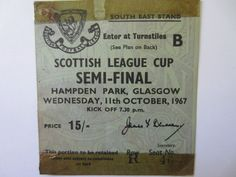 Celtic v Morton Scot Cup semi final 11/10/1967 Match Ticket  | eBay