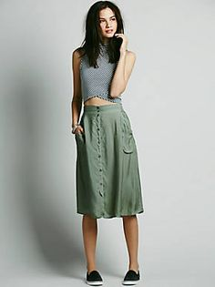 Free People Marina Buttondown Skirt, $128.00