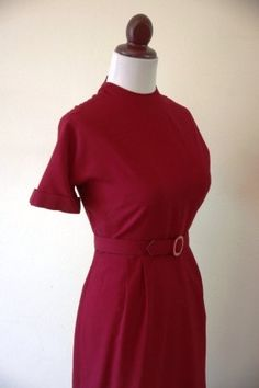 Vintage 1950s Cranberry Wiggle Dress with by RetroKittenVintage, $45.00