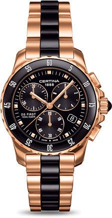 Certina Watch DS First Lady Ceramic Chrono Quartz #bezel-unidirectional #bracelet-strap-ceramic #brand-certina #case-material-rose-gold #case-width-34-8mm #chronograph-yes #classic #date-yes #delivery-timescale-7-10-days #dial-colour-black #gender-ladies #movement-quartz-battery #official-stockist-for-certina-watches #packaging-certina-watch-packaging #style-sports #subcat-ds-first #supplier-model-no-c014-217-33-051-00 #warranty-certina-official-2-year-guarantee #water-resistant-100m
