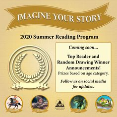SUMMER READING PROGRAM UPDATE: Starting August 10, we'll announce the Top Reader and random drawing winners for 2020! Follow us for announcements of what the prizes are and who won. How exciting! 😍🏆 #SRP2020 #ImagineYourStory