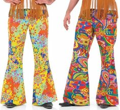 Mens Bright Print 1960s Hippy Hippie Flared Trousers Fancy Dress Costume Outfit #Unbranded #CompleteOutfit