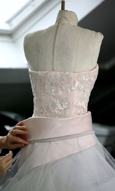 Haute Couture behind the scenes - a beautifully embellished gown in the making - fashion atelier; moulage; dressmaking; luxury fashion // Dior