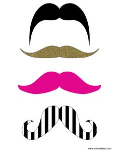 Mustaches from Tea Party Hot Pink Gold Printable Photo Booth Prop Set