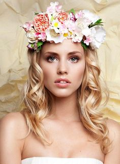 Bridal Floral Wreath Handmade Flower Crown Headband Hairpiece made  from clay