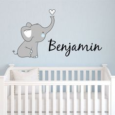 Cute Elephant Name Personalized Fabric Repositionable Wall Decal - Decor Designs Decals