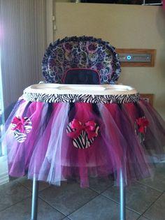 Minnie Mouse high chair birthday decoration