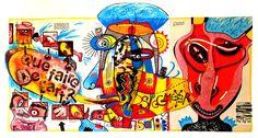 """""""Le noeud de Tawara"""" ma réponse envoyé par tryptique/boomerang postal à l'artiste Eric Meyer (On remarque à gauche un ovaire et à droite un coeur Courrier peint original envoyée par Eric Meyer et reçu dans ma boite arts lettres"""